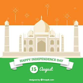 Unabhängigkeitstag von indien, taj mahal und flagge der farben