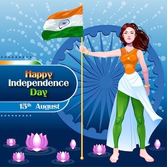 Unabhängigkeitstag wünscht mit mädchen mit indischer flagge