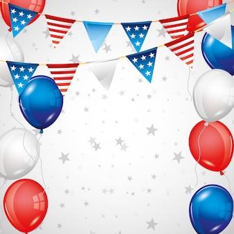 Unabhängigkeitstaghintergrund mit sternen und ballonen im blauen rot
