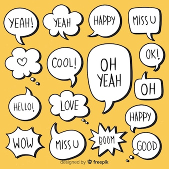 Unbedeutende hand gezeichnete spracheblasen mit ausdrücken
