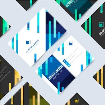 Unbedeutende visitenkarte mit klassischen blauen formen