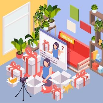 Unboxing isometrische illustration mit junger frau, die zwischen ihren einkäufen sitzt und internetinhalte für vlog erstellt