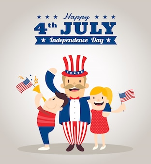 Uncle sam cartoon mit kindern glücklich 4. juli independence day feier illustration