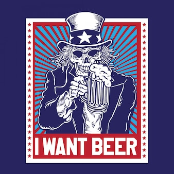 Uncle sam skull beer