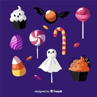 Und gezeichnete halloween-bonbonsammlung