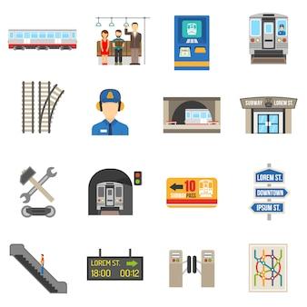 Underground icons set Kostenlosen Vektoren