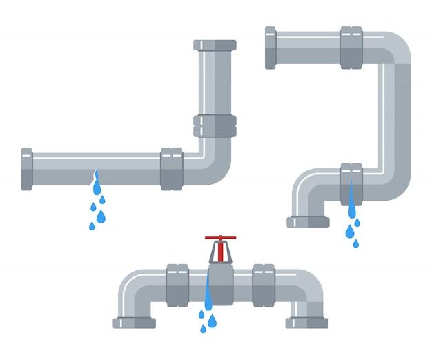 Undichte wasserleitungen. defekte stahl- und plastikrohrleitung mit leckage, undichtes ventil, tropfender armaturenvektorsatz