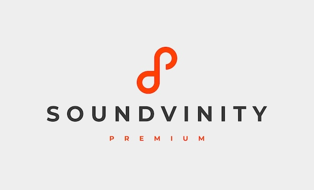 Unendlich musik logo design vector illustration