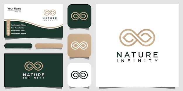 Unendlich natürliches logo design geschlungene blattvektorvorlage.