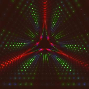 Unendlicher dreieckiger tunnel aus leuchtenden fackeln