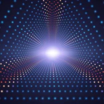 Unendlicher dreieckiger tunnel des vektors der bunten kreise auf dunklem hintergrund. kugeln bilden tunnelsektoren.