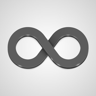 Unendlichkeit 3d symbol schwarz, schablonengestaltungselement. vektor-illustration