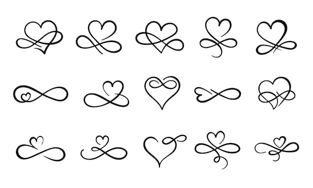 Unendlichkeitsliebe gedeihen. hand gezeichnete herz dekorative schnörkel, liebe verzierten tattoo-design und unendlichkeit herzen