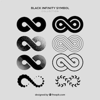 Unendlichkeitssymbolsammlung in der schwarzen farbe