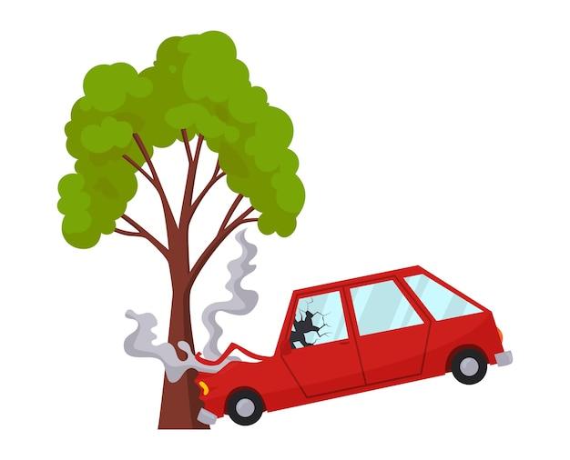 Unfall am straßenfahrzeug beschädigt. verkehrsunfall-symbol. autounfall, als ein baum getroffen wurde. beschädigte kfz-versicherung. auto beschädigt. nicht wiederherstellbar.
