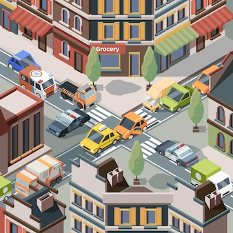 Unfall an der kreuzung. verletzungsprobleme stadtautos polizei unfalltransport auf straßenbusverkehr vektor isometrisch. straßenautounfallkreuzung, kreuzungsverkehrsunfallillustration