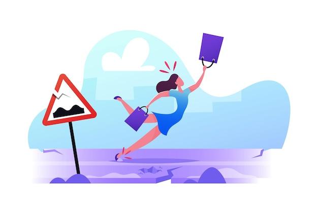 Unfallgefahr auf schlechtem straßenkonzept. weiblicher charakter stolpert und fällt auf gebrochenen straßenrand mit gerissenem asphalt