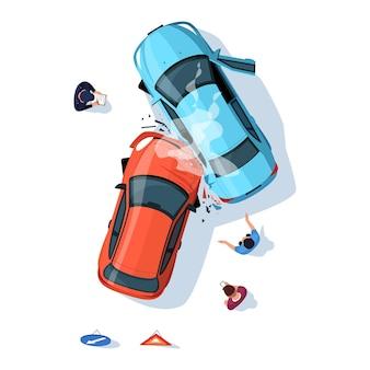 Unfallregelung auf der straße halbflacher rgb-farbvektorillustration. zertrümmerte autos auf der autobahn. polizist mit abgestürztem transport. fahrer isoliert cartoon-figur-draufsicht auf weißem hintergrund