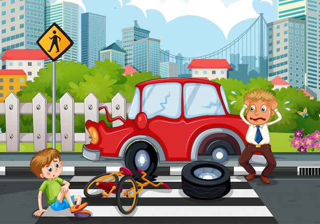 Unfallszene mit autounfall in der stadt