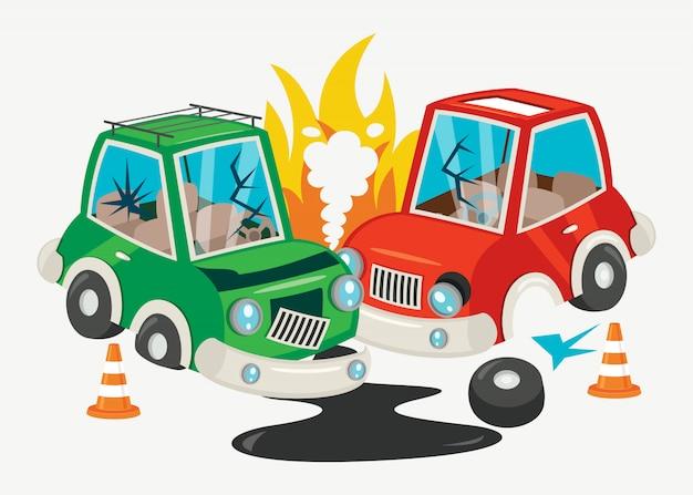 Unfallszene mit autounfall