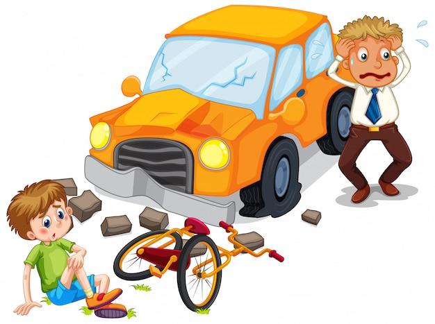 Unfallszene mit dem auto, das ein fahrrad zusammenstößt