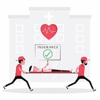 Unfallversicherung merkmal ein mann wird von zwei personen mit einem zeichen des herzens gerettet