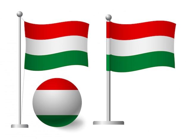 Ungarn flagge auf pole und ball symbol
