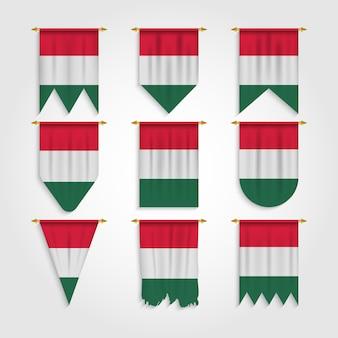 Ungarn flagge in verschiedenen formen