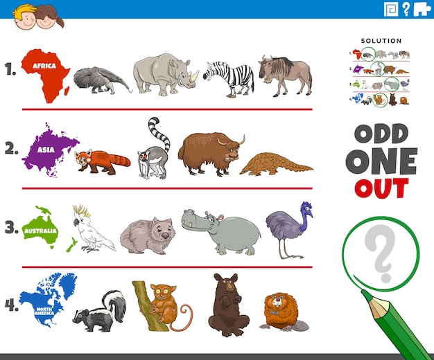 Ungerades bildspiel mit wilden tierarten