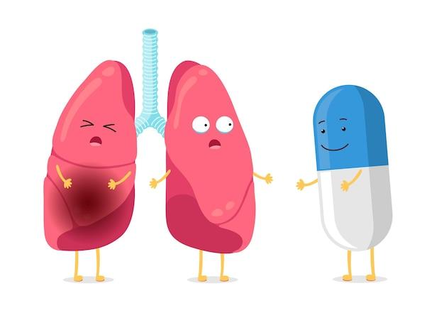 Ungesunde krankheit und starker gesunder lungencharakter mit pillendroge, die an kranker karikaturpneumonie leidet
