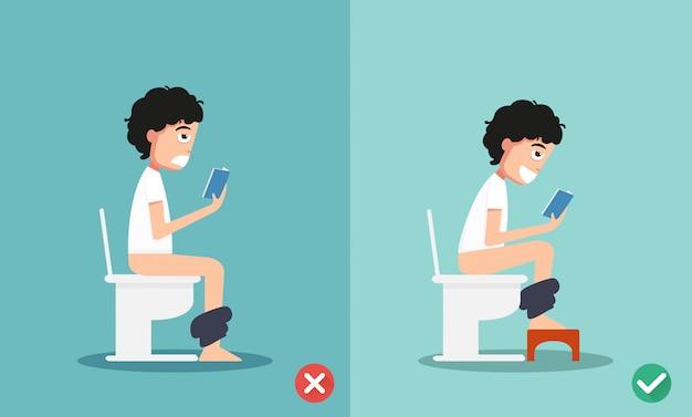 Ungesunde vs gesunde positionen für stuhlgang