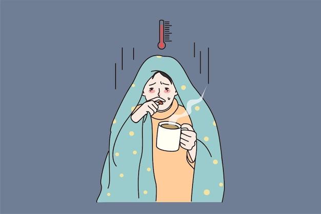 Ungesunder mann hat grippe leidet mit hoher temperatur