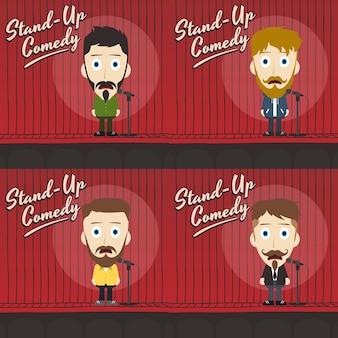 Unglaublich witzig kerl stehen komiker cartoon