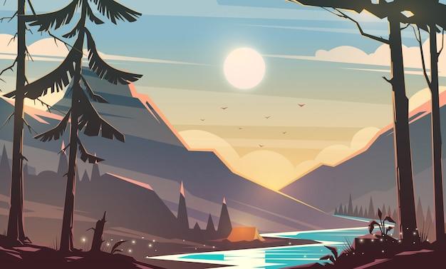 Unglaubliche berglandschaft. modernes illustrationskonzept. spannende aussicht. ein großer bergfluss ist umgeben. camping. erholung im freien. sonnenuntergang.