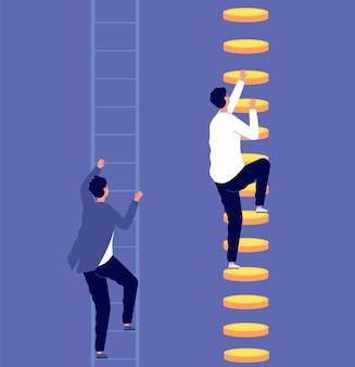 Ungleichheit in der karriere. soziale kluft, arbeitnehmerdiskriminierung. winzige geschäftsleute auf leitern