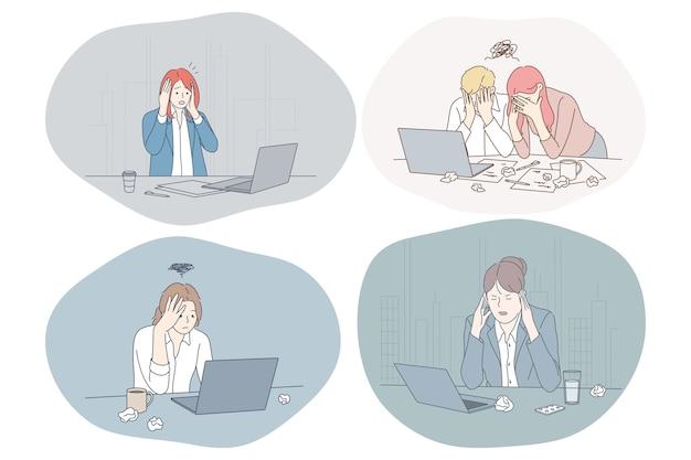 Unglückliche depressive büroangestellte junger leute, die im büro sitzen