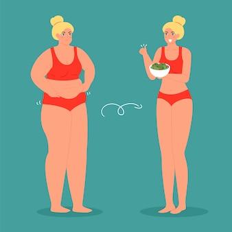 Unglückliche fette und glückliche schlanke frau, vor und nach diät und gewichtsverlust illustration. konzept gewichtsverlust, gesunde frau und übergewichtige adipositas frau.