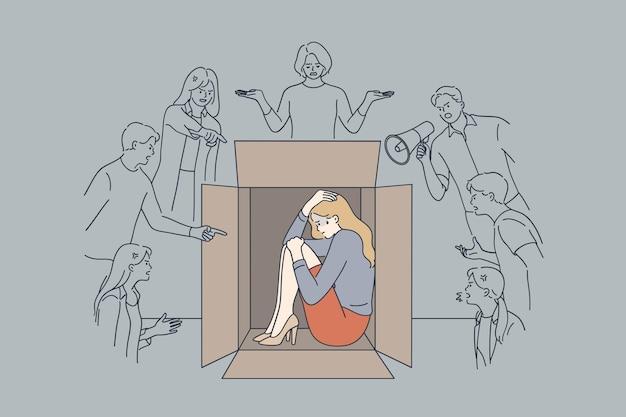 Unglückliche gestresste ängstliche geschäftsfrau, die sich in der kiste versteckt