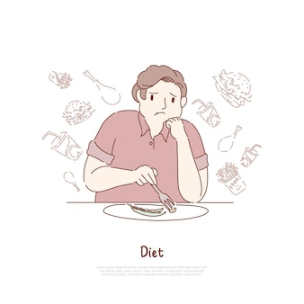 Unglücklicher fettleibiger mann, der bohnen isst