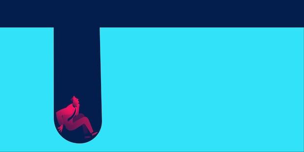 Unglücklicher geschäftsmann bankrott und fällt in die grube. geschäftskonzept in roten und blauen neonverläufen