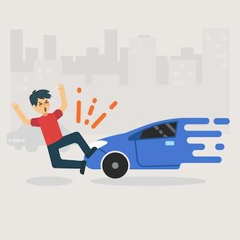 Unglücklicher mann bekommen unfall durch autounfall