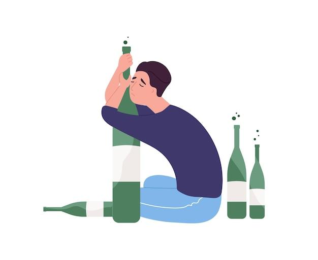 Unglücklicher mann, der auf dem boden sitzt und flasche umarmt. junger mann mit alkoholsucht isoliert auf weißem hintergrund. alkoholiker, dipsomanie, säufer oder trinker. flache cartoon bunte vektor-illustration.