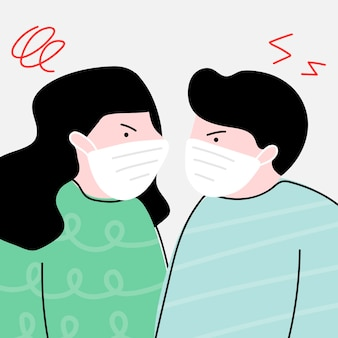 Unglückliches paar während der coronavirus-pandemie