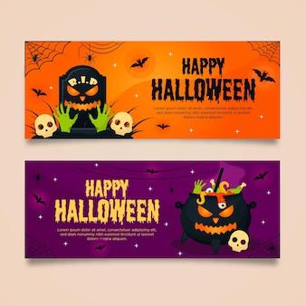 Unheimliche halloween-banner des flachen entwurfs