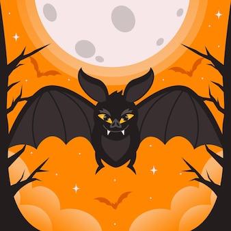 Unheimliche halloween-fledermaus mit flachem design