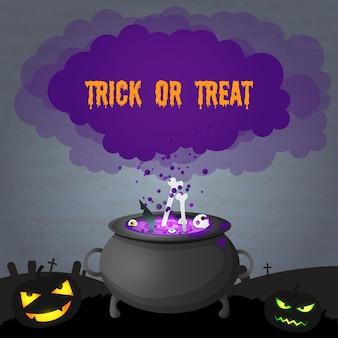 Unheimliche illustration der dunklen halloween-partei mit bösen kürbissen der inschrift und dem zaubertrank, der im hexenkessel kocht