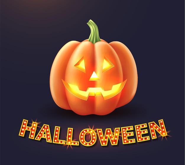 Unheimliche kürbisgesicht-halloween-illustration von jack o laternen
