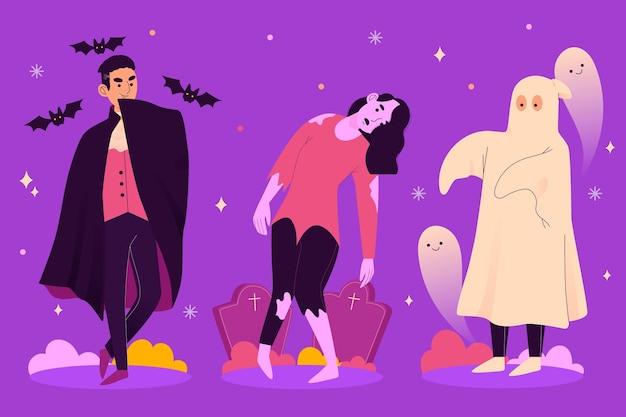Unheimliche sammlung des glücklichen halloween-charakters
