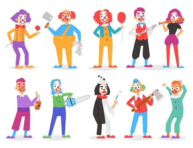 Unheimlicher clowncharakter des clownvektors, der auf leistung im zirkus mit axt oder schwert und karikaturmann des clownery-illustrationssatzes der gruseligen perfomere, die auf weißem hintergrund lokalisiert werden, clowniert
