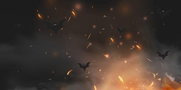 Unheimlicher dunkler hintergrund des halloween mit magischen schwarzen lichtern böse augen, lichter, feuer funkeln bokeh und fledermaus-silhouetten im mystischen nebel. halloween-plakathintergrund mit platz für text